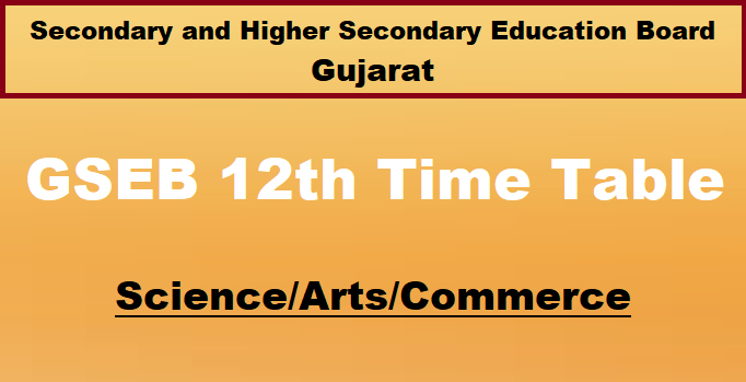 Gujarat 12th Board Time Table