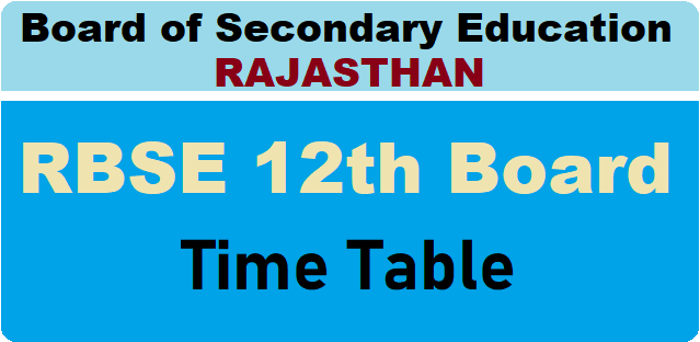 Rajasthan Board Class 12th Time Table 2021