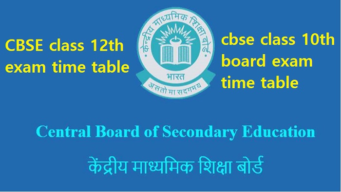 cbse class 12 10th board exam time table 2021