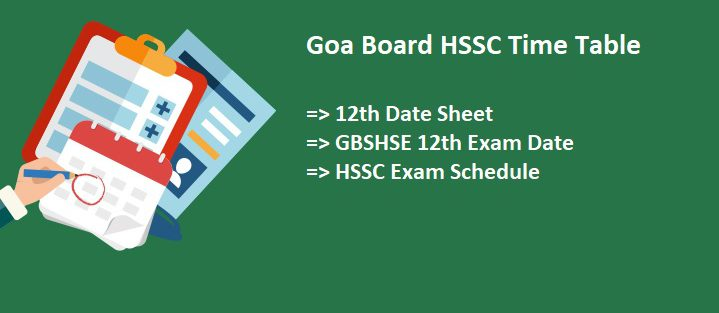 Goa Class 12th 2021 Time Table
