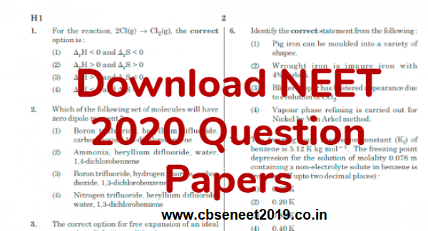 NEET 2020 Question Papers