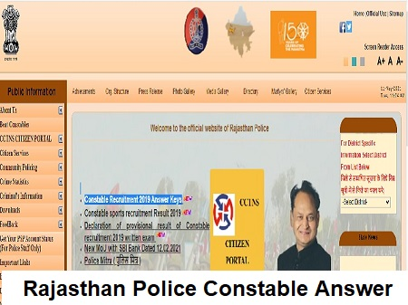 Rajasthan Police Constable Answer Key 2019