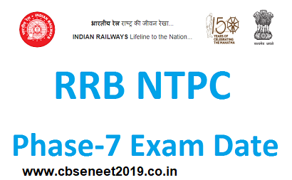 RRB NTPC 7th Phase Exam 2021 Date